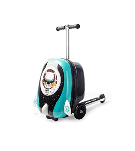 GEZHU Kid Suitcase Scooter Luggage Trolley Case Luggage Skateboard for Children Carry-on Kids Luggage Ride Trolley Case Toy on Wheels, Pink Fun toys for children. (Color : Blue)