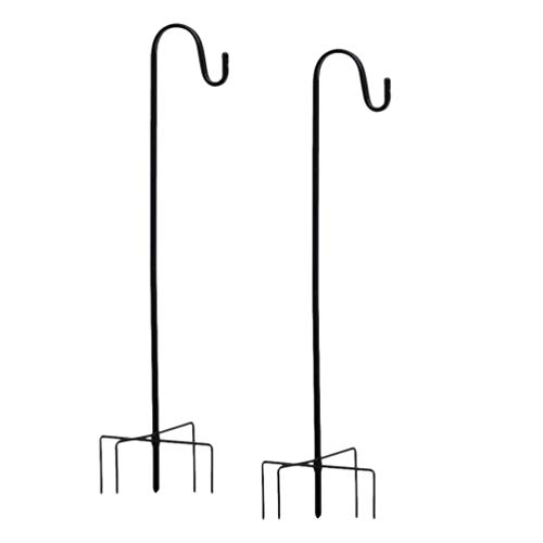 Angoily 2 Piezas Ganchos de Pastor Poste de Jardín Perchas de Estaca de Metal Estacas de Bandera de Jardín Gancho de Planta de Óxido para Comederos de Pájaros Planta Colgante Cesta de