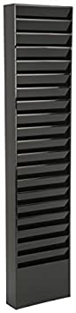 File Folder Wall Rack 20 Pockets Tiered Office and Medical Charts  Black Powder Coated Steel