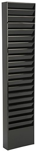File Folder Wall Rack, 20 Pockets, Tiered, Office and Medical Charts (Black, Powder Coated Steel)