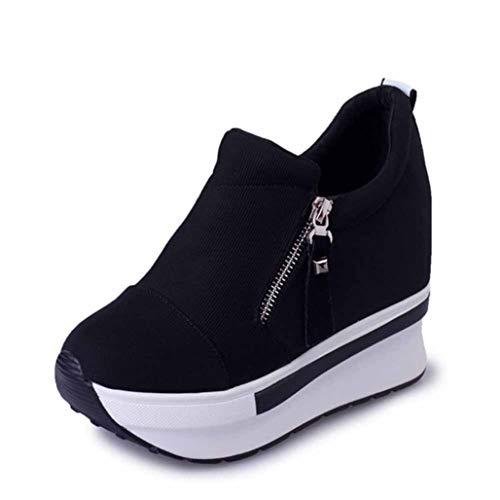 Platformsneakers Voor Dames Ronde Neus Ademend Afslanken Fitness Swing Schoenen Rood Zwart Onzichtbare Sleehak Comfortabele Dikke Canvas Sneakers