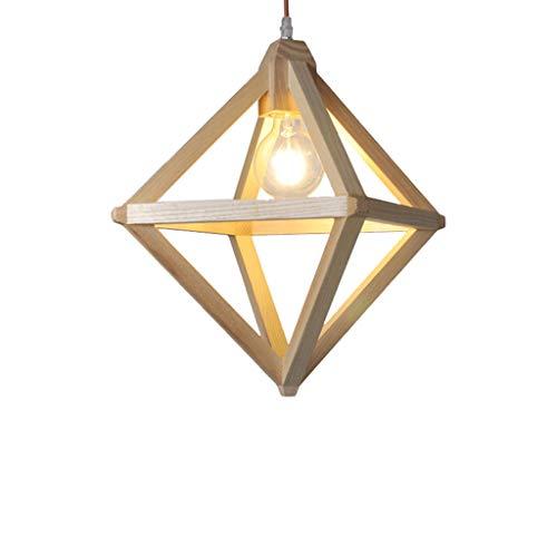 LJF lamp . Lámparas colgantes de madera maciza,Lámpara de araña triangular de madera de una sola cabeza