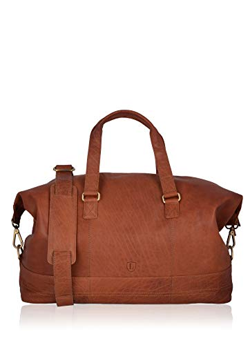 Lakeland Leather Keswick Real Tan Brown Leather Weekend and Overnight Travel Holdall Duffle Bag