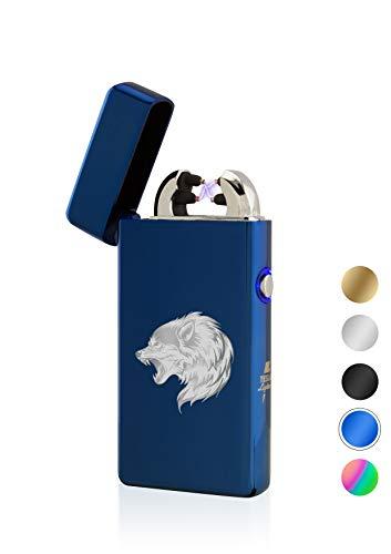 TESLA Lighter T08 Lichtbogen Feuerzeug, Plasma Double-Arc, elektronisch wiederaufladbar, aufladbar mit Strom per USB, ohne Gas und Benzin, mit Ladekabel, in edler Geschenkverpackung, Blau Wolf