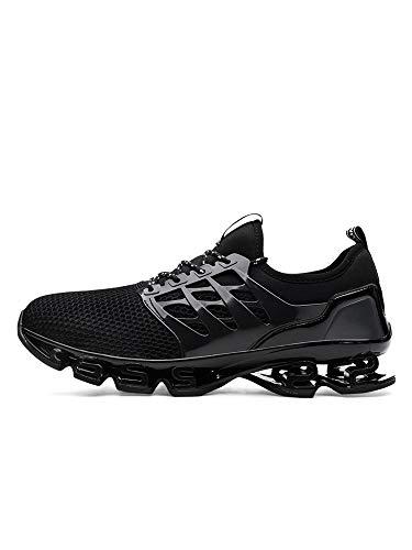 Zapatillas atléticas para hombre para correr y correr, zapatos casuales para absorción de golpes, color Negro, talla 43 EU
