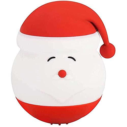 YuKeShop Luz de noche para niños, linda Santa silicona noche luz colorida lámpara LED noche portátil decoraciones de Navidad dormitorio regalos de cumpleaños para 2-7 bebé niños niño niña