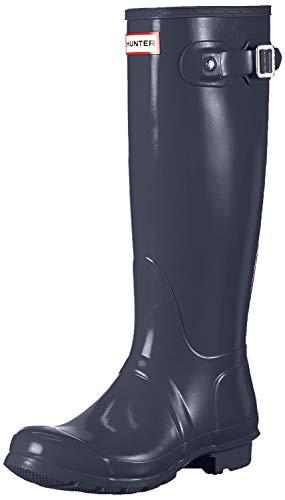Hunter Boots Original Tall Gloss Botas De Agua De Caña Alta Unisex La Nieve Lluvia Zapatos para Mujer - Marina De Guerra - 37