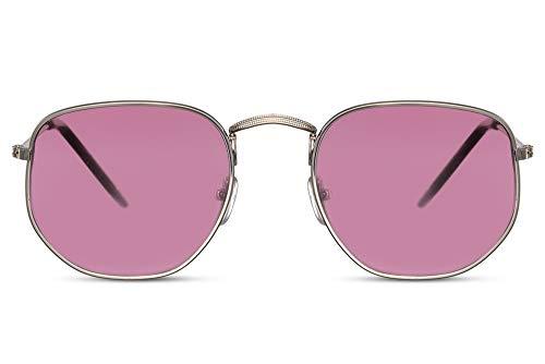 Cheapass Gafas de Sol Hexagonales Gafas de sol Doradas Montura Rojas Translúcidas Cristales Hombres Mujeres UV400 protegidas