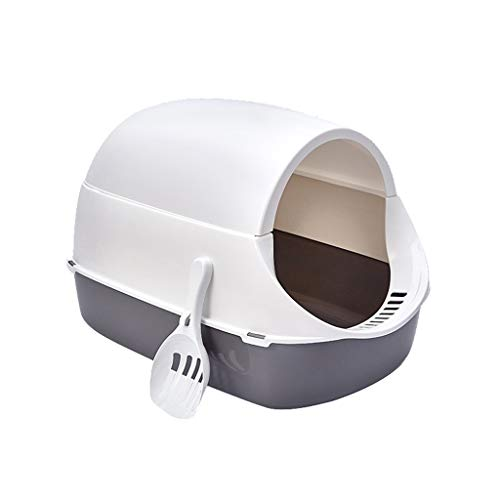 Mysida Cat Litter Box Asamblea Libre 2 en 1 Caja de Arena for Gatos Completamente Cerrado/Arena for Gatos Semi-Cerrado WC Bandeja Anti Salpicaduras Desodorante Mascotas (Color : Gray)
