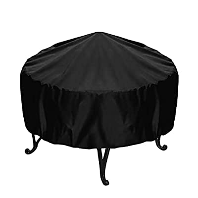 SterneMond Protective Cover for Round Fire Pit, Black, Waterproof, UV Protection, 210D Oxford Cover for Fire Bowl, Outdoor Barbecue, Dust Protection (Diameter 55 cm, Height 50 cm) by SterneMond