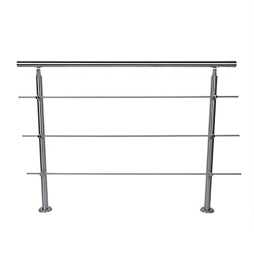lyrlody Handlauf, Edelstahl Geländer Treppengeländer Brüstungsgeländer für Treppen Balkon Brüstung, 80 x 102,5 cm (3 Traverses)