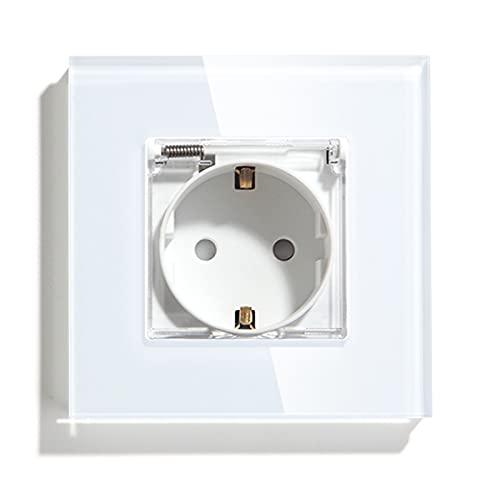 BSEED Enchufe de pared, Panel de cristal Schuko Enchufe con cubierta Blanco Impermeable toma Simple 16A a 250V enchufes de extensión adecuado para Baño,cocina