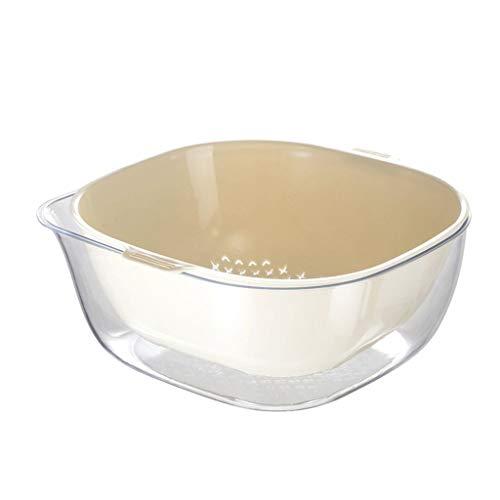 Fine 2 in 1 Kitchen Strainer,Double Drain Basket Bowl Washing Strainer, Draining Basket for Vegetables Fruit Kitchen Basket Snap Button Dish Washing Tool (White)