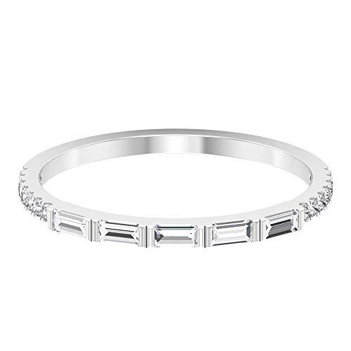 Benutzerdefinierte 1/3 CT 1,53 mm Baguette zertifizierte Diamant Jahrestag Ring, massives Gold HI-SI Seite Stein Braut Hochzeit Ring, Frauen Brautjungfer stapelbar Ring, 14K Weißes Gold, Size:EU 49