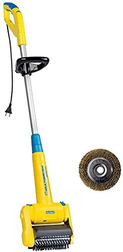 GLORIA MultiBrush speedcontrol - Cepillo eléctrico multifuncional, Eliminador de malas hierbas, Se puede utilizar como limpiador de piedra, madera y juntas, Aireador de césped, Juego con 2 accesorios