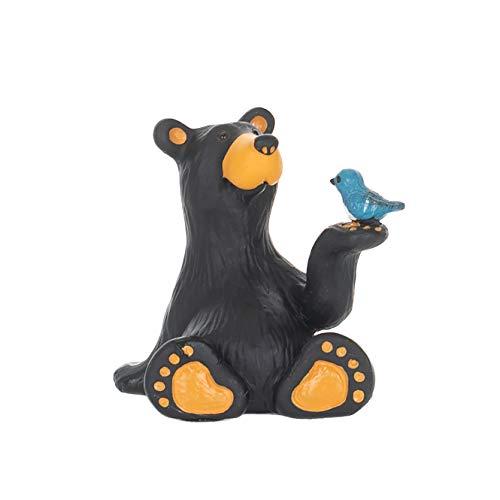 Minnie Bear With Bird Mini Midnight Black 3 x 2 Resin Stone Collectible Figurine