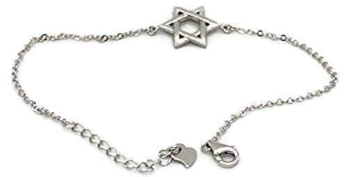 PLATA DE LEY 925 colgante de plata estrella de David Hexagrama Amuleto Collar 30x30mm