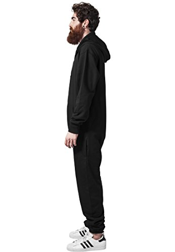 Urban Classics Herren Strampelanzug Sweat Jumpsuit, Black White - 4