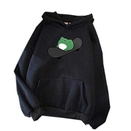 Dames Hoodie Hip-Hop Sweatshirt met lange mouwen Nieuwe Candy Kleur Trui Campus Stijl Trui Vrouwen Winter - zwart - 5XL