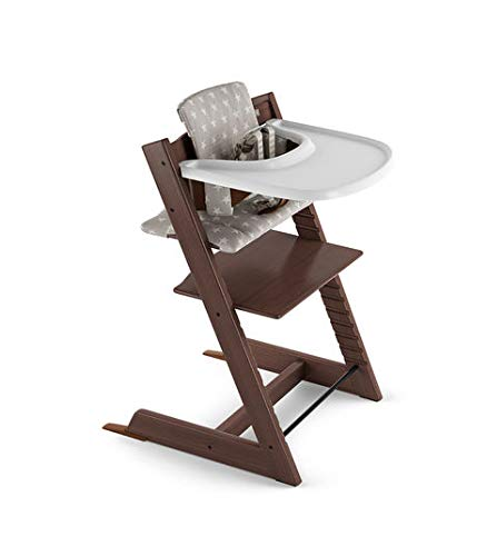 Tripp Trapp by Stokke Adjustable Walnut Baby High Chair (Includes Baby Set with Grey Star Cushion and White Tray)