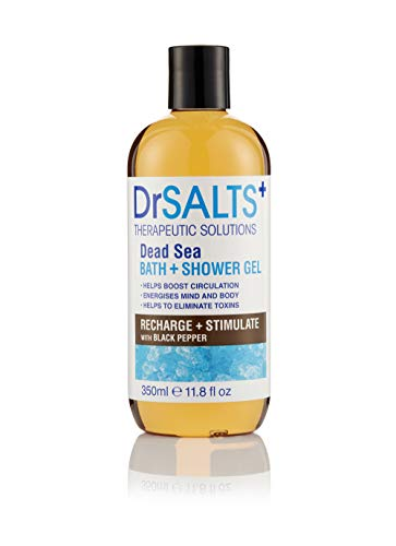 Dr SALTS 100% Dead Sea Salts Bath & Shower Gel Recharge + Stimulate with Black Pepper, Natural Minerals Essential For Staying Healthy Tea Tree Oil & Mint Detoxify Refresh and Rejuvenate 350ml SA31141