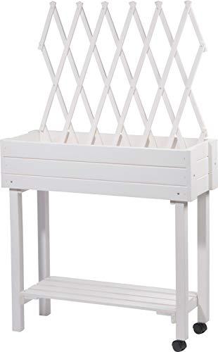 dobar 58186e Vielseitiges Hochbeet mit integrierter Rankhilfe, Rollbares Tischbeet für Terrasse und Balkon, 79 x 28,5 x 130 cm, Fichte, Weiß