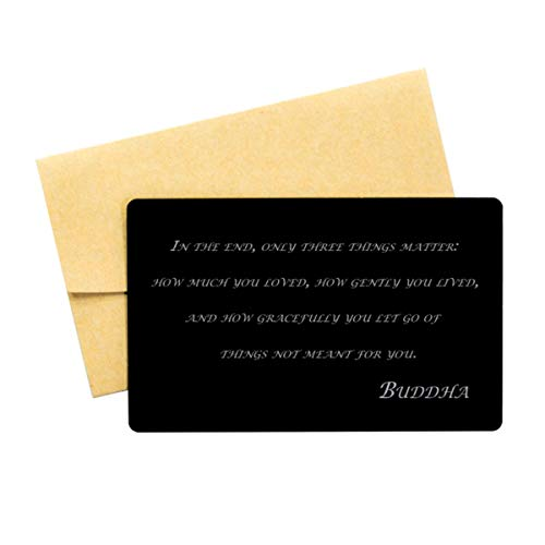 Buddha Quote,Aluminum Note Card,in The end, only Three,Wallet Insert Card,Buddha Verse, Buddhist Inspired Quote,Buddhist,Wallet Card