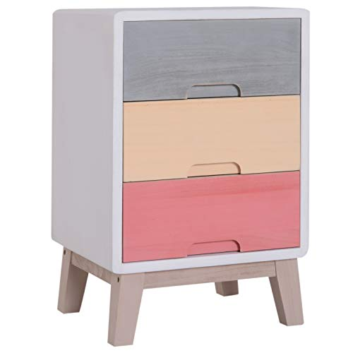 HOMCOM Wooden 3 Chest of Drawers Cabinet Storage Stand Bedside Telephone Table Night Stand Multi-coloured 30D x 51H x 34Wcm