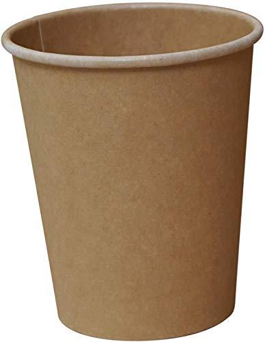 Gastro-Bedarf-Gutheil 50 Bio Kaffeebecher Natur 200 ml / 8 oz Pappbecher Umweltfreundliche Bio-Beschichtung PLA Kompostierbar und biologisch abbaubar Einweg Heißgetränkebecher Tee