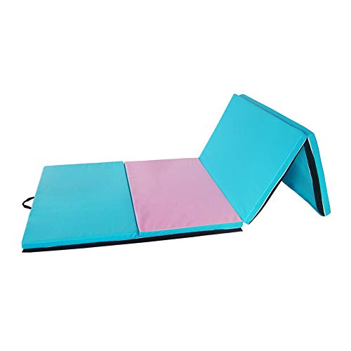Polar Aurora 4'x10'x2 Thick Folding Gymnastics Exercise Mat Aerobics Stretching Yoga Mats (Pink-Green)