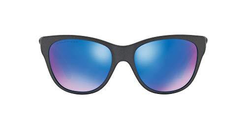 Oakley Women's OO9357 Hold Out Cateye Sunglasses, Steel/Sapphire Iridium Polarized, 55 mm