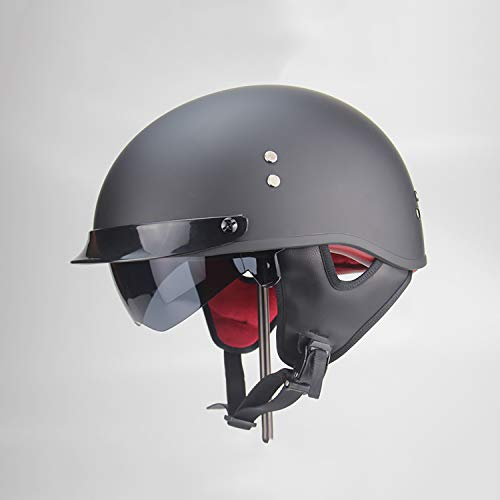 Harley Motorcycle Half Helmet Retro Open Face Sun Visor Goggles Half Helmet DOT Certification Cruiser Best Young Men and Women Beanie Half Helmet,M