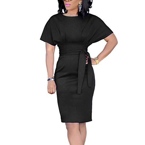Huaheng Womens Casual potlood jurk riem elegante korte mouw kantoor jurk 2XL Zwart
