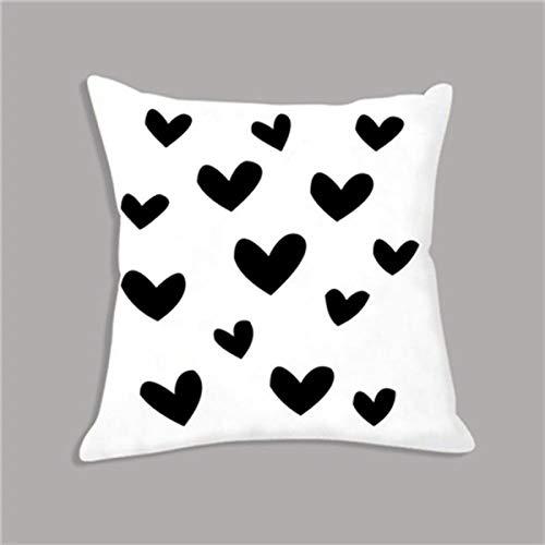 DSHRTY taie d'oreiller,Kawaii Noir Blanc Taies d'oreiller Coeur Cartoon Taie d'oreiller Jeter Taies d'oreiller Coussin Décoratif pour Canapé Décor À La Maison 45x45 cm, comme image1,45x45 cm Just