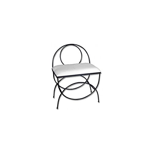 Hogares con Estilo - Banqueta de forja Nacional Modelo Basic respaldo/604B, Color Blanco-Plata con Asiento pretapizado en Color Blanco. Medidas 60 x 38 x 50 cm de Alto