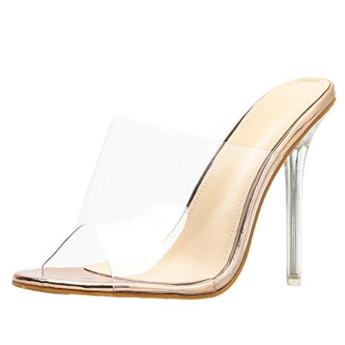 Sandalias Transparentes de tacón Alto para Mujer Tacón Fino Peep Atractivo Sandalias de Tacones Altos Talon Grueso Casual Roma Zapatillas Zapatos Cómodo riou