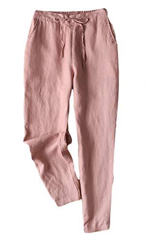 Insun Donna Pantaloni di Lino con Elastico in Vita Pantaloni di Harem Rosa L