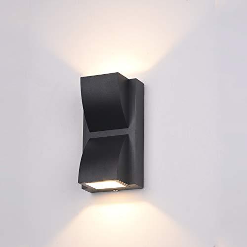 Italux Edgar - Lámpara de pared LED para exteriores moderna negra, blanco cálido 3000K 120lm, IP54