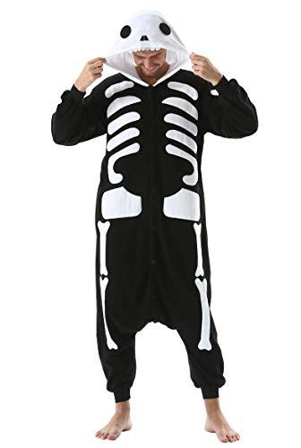 Jumpsuit Onesie Tier Karton Kigurumi Fasching Halloween Kostüm Lounge Sleepsuit Cosplay Overall Pyjama Schlafanzug Erwachsene Unisex Skelett for Höhe 140-187CM Damen Herren