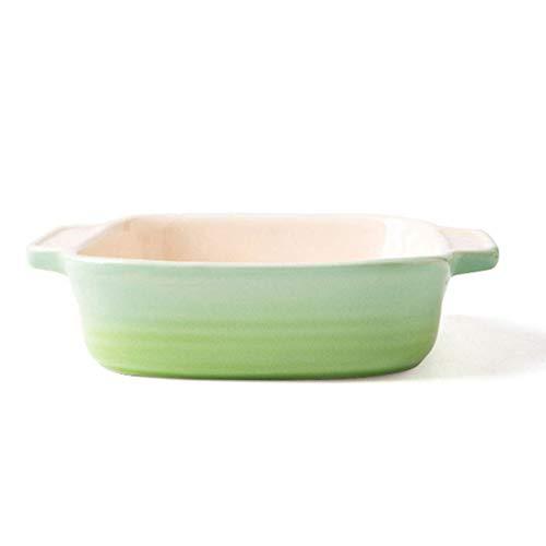 LJW Tazón de cerámica Cuenco de tazón de fuente de tazón para comer cuenco de fideos Cuenco de cerámica Ensalada de cuenco Sopa de cuenco Postre cuenco (color: verde, Tamaño: 19 * 19 * 5 cm / 7 * 7 *