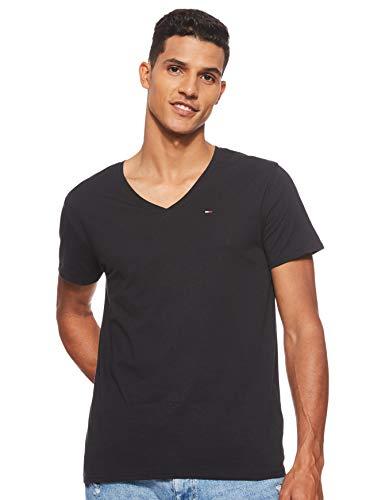 Tommy Jeans Original Jersey Camiseta, Negro (Tommy Black 078), Large para Hombre
