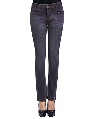 Camii Mia Damen Jeanshose Fleece Gefüttert Slim Fit Dicke Winter Thermohose Low Rise Jeans (30W x 30L, Grau (Neue Größe))