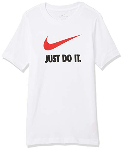 Nike B NSW Tee JDI Swoosh T-Shirt à Manches Courtes Homme Blanc - Rouge Universitaire FR : L (Taille Fabricant : L)