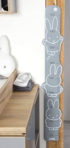"""roba Meßlatte """"miffy"""", bedruckt, Wachstumsmesser mit Skala von 70 bis 150 cm für Kinder, Messleiste, weiß, grau, anthrazit"""