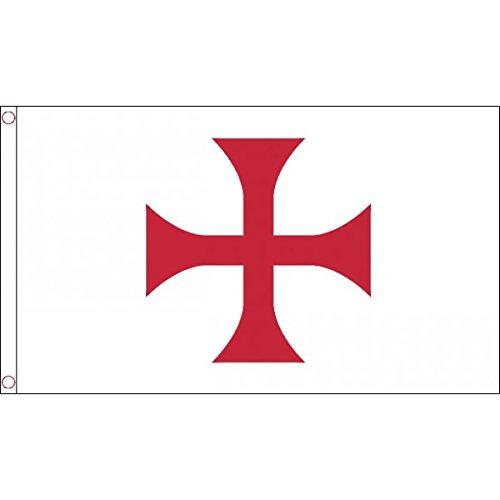 AZ FLAG Drapeau Templiers Ordre du Temple 150x90cm - Drapeau Croix pattee Rouge 90 x 150 cm - Drapeaux