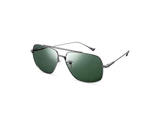 HongTeng Gafas de Sol polarizadas para Hombres Gafas de Viaje Pure Titanium Fashion Square Glasses