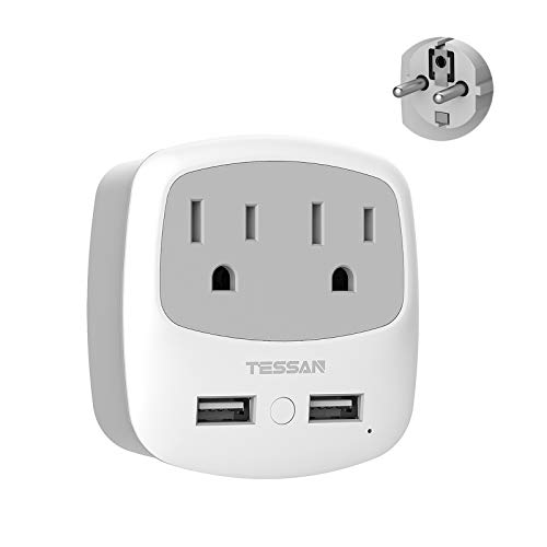 Germany France Travel Power Adapter,TESSAN Schuko Plug with 2 USB Ports 2 AC Outlets, US to European Europe German French Spain Iceland Russia Korea Adaptor(Type E/F)