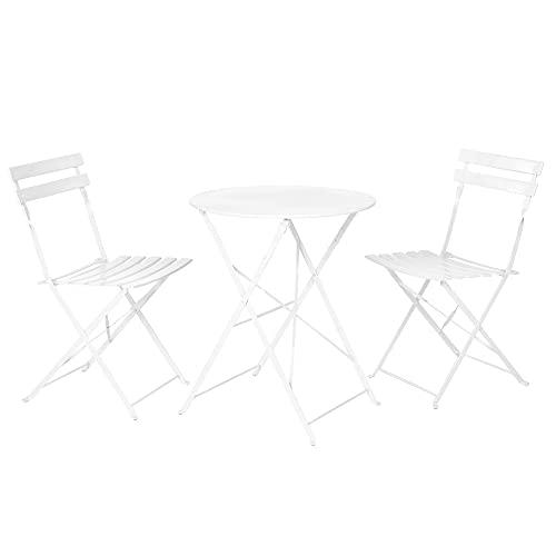 Conjunto de Mesa y 2 sillas de jardín Plegables Sira con láminas Curvas Blanco de Acero - LOLAhome