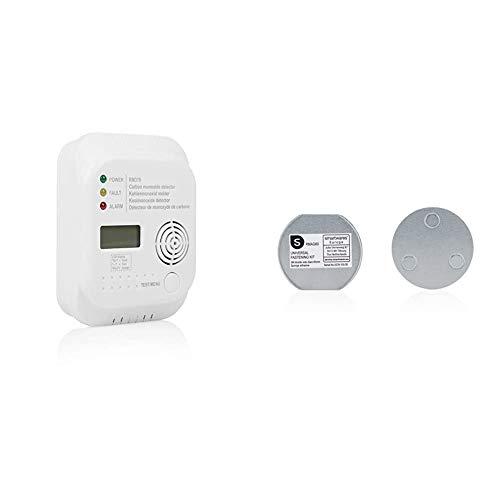 Smartwares RM370 Kohlenmonoxid CO Melder mit Display und Temperaturanzeige, Prüftaste, 1 Stück & Magenthalter für Rauchmelder/6 cm Ø/Magnetbefestigung für Rauchmelder, RMAG60