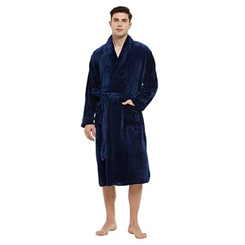 U2SKIIN Mens Fleece Robe Plush Collar Shawl Bathrobe(Navy,S/M)